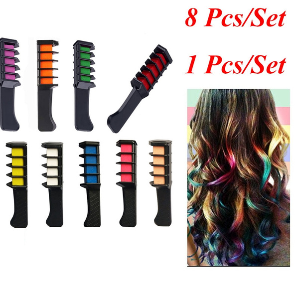 1 Color/Set Or 8 Colors/Set Temporary Hair Color Comb Washable Hair Chalk  for Hair Dye Non toxic and Safe for Kids, for Party Fans Cosplay DIY