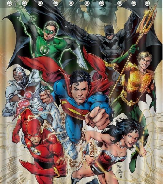 Polyester, Superhero, Waterproof, Shower Curtains