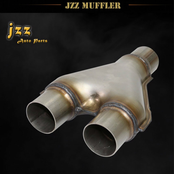 JZZ 63mm/57mm/51mm inlet Universal Stainless Steel Silencer Loud modified  exhaust Y-pipe car