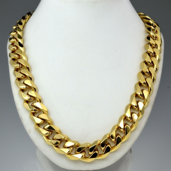 High Quality Solid Mens 18k Gold Filled Cuban Curb Chain Necklace In Size 50cm 19 68 Inch 60cm 24 Inch Wish