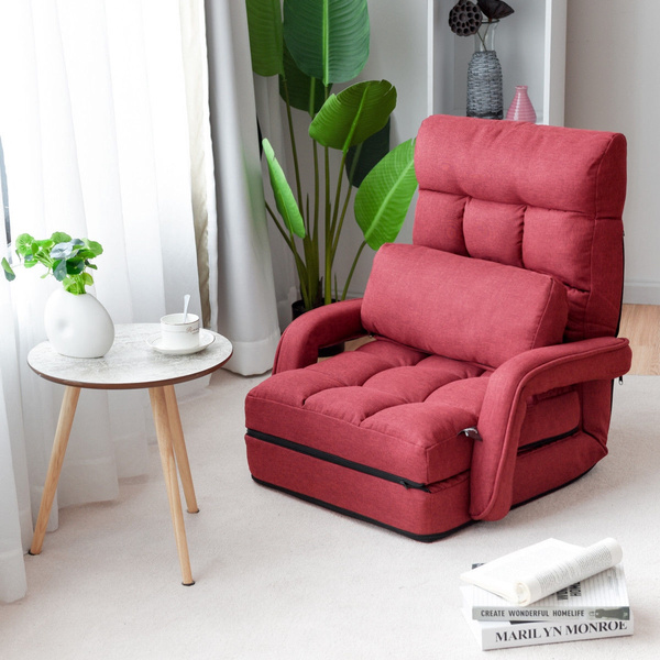 Terrific Red Folding Lazy Sofa Floor Chair Sofa Lounger Bed With Armrests And A Pillow Caraccident5 Cool Chair Designs And Ideas Caraccident5Info