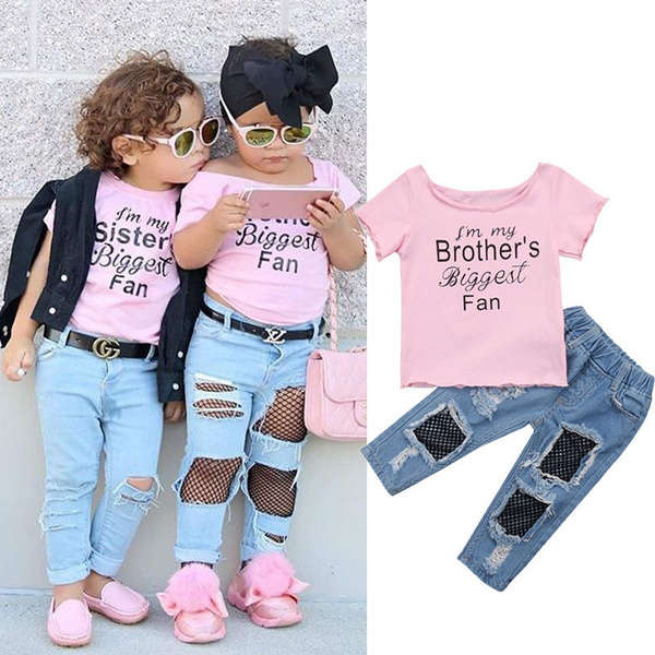 8f79d35a0ea02 Kids Baby Girls T shirt Tops+Mesh Jeans Pants 2pcs Outfits Set ...
