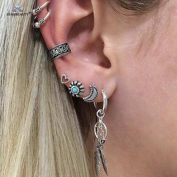 Dreamer 7pcs Set Dream Catcher Moon Sun Crystal Stud Earring Cuff