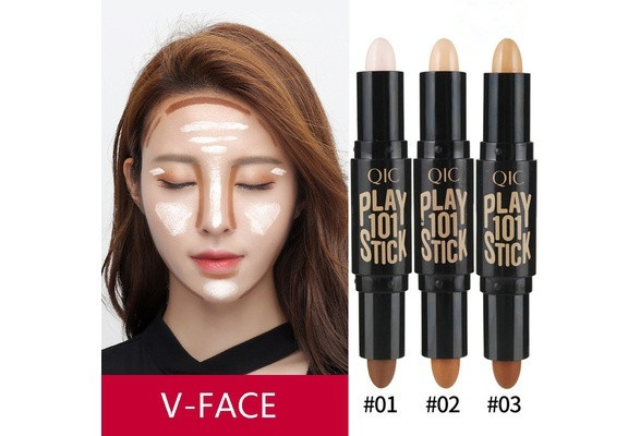 Double-ended 2-in-1 Eyeshadow Contour Stick Makeup Creamy Highlighter Bronzer Create 3D Face Makeup Concealer Cream Full Cover TN