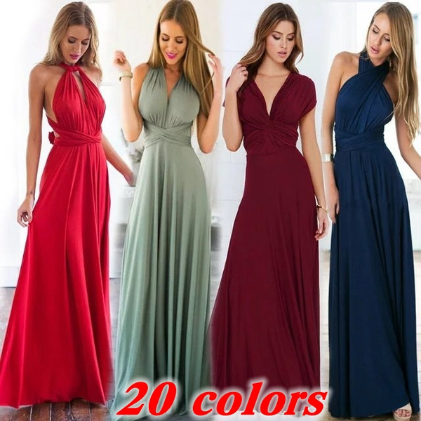 03085a973540c Sexy Women Fashion Maxi Red Beach Long Multiway Bridesmaid Convertible Wrap  Party Dresses Robe Longue Femme