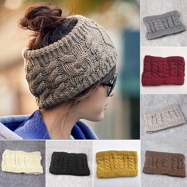 Womens Beanie Tail Messy Bun Hat Ponytail Stretchy Knit Crochet