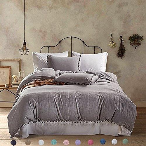 Meaning4 Pom poms Fringe Duvet Cover Set Polyester King Size Gray or Grey 3 pcs 1 duvetcover + 2 Pillowcase