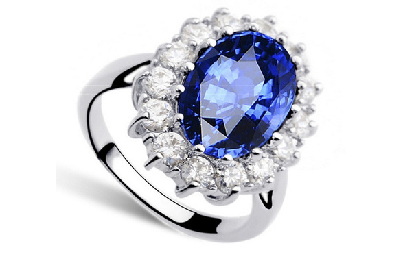 JewelryPalace Princess Diana William Kate Middleton''s 3.2ct Created Blue Sapphire Engagement 925 Sterling Silver Ring for Women