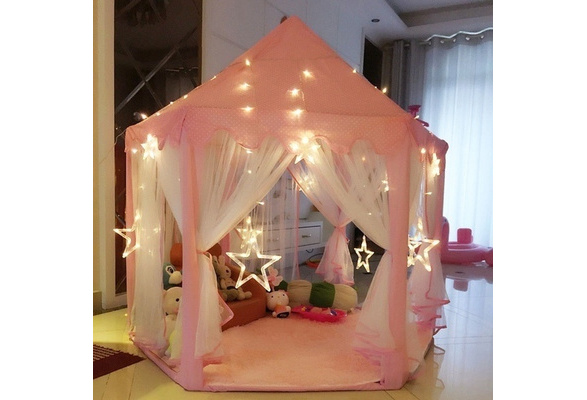 Portable Folding Princess Castle Tent Kids Children Funny Play Fairy House