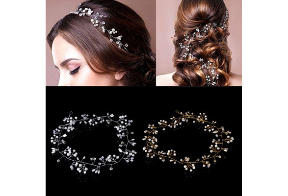 Luxury Wedding Bridal Rhinestone Faux Pearl Headband Tiara Hair Chain Headpiece KJD