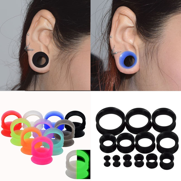 Purple Silicone Flexible Thin Ear Skins Tunnels Plugs 12mm Pair of 1//2 Gauge