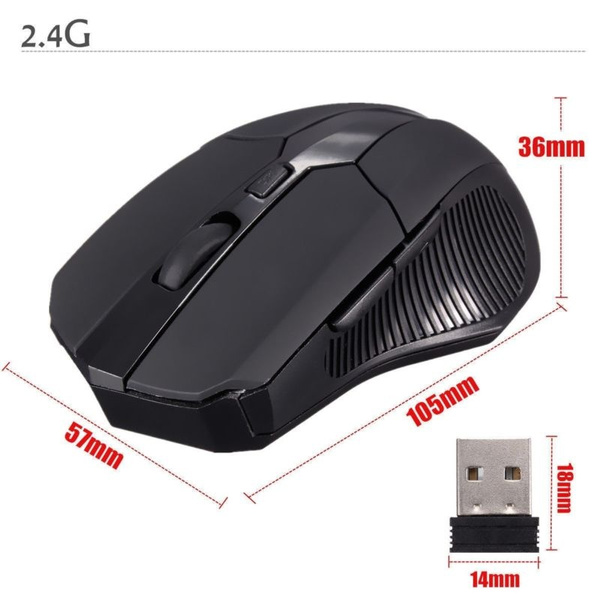Wish | 2.4 GHz Wireless Optical Mouse Mice USB 2.0 Receiver for PC Laptop Black Gaming