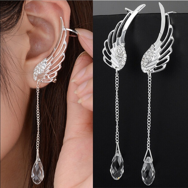 Fashion 925 Sterling Silver Angel Wing Stylist Crystal Earrings Drop Dangle Ear Stud For Women by Wish