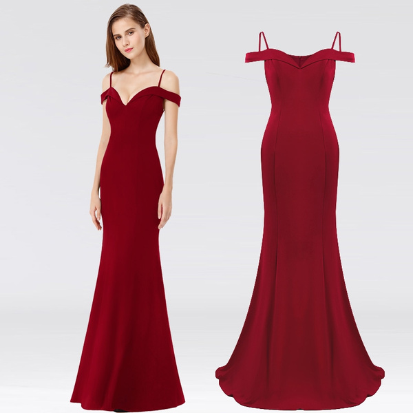 where can i buy united kingdom no sale tax Elegant Off-the-shoulder Long Evening Formal Prom Christmas Party Dress  Burgundy EP07017