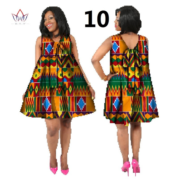 Summer Dress African Bazin Riche Print Bowknot A-line Dresses for Women  Dashiki Plus Size African Clothes Dress WY778