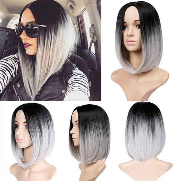 Synthetic Hair Wigs Short Bob Hairstyle Ombre Grey Wig High Temperature Silk Wave For Women