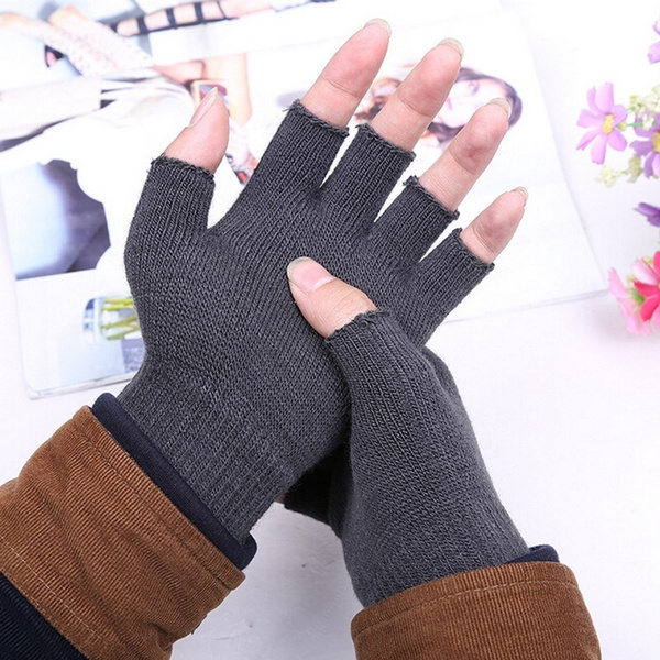 1Pair Women Fingerless Gloves Half Finger Knitted Mittens Winter Warm Supplies