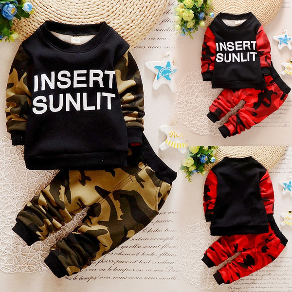 07e8781a8ae4 2 Peaces Children's Clothing Set Baby Boys Camouflage Clothes Long Sleeved  Kids Clothes Suit 0-1-2-3-4-5 Years Old