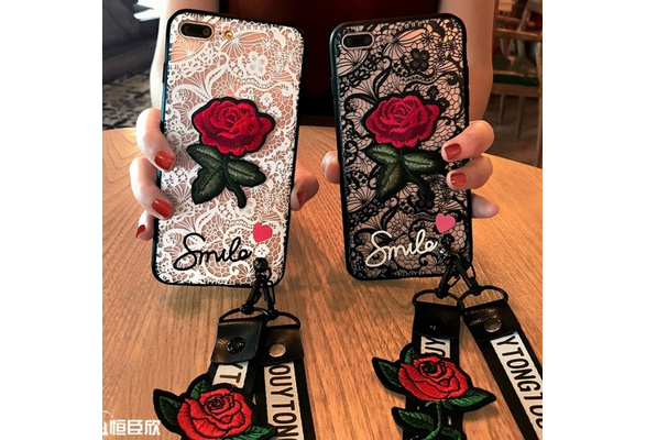 2017 High Quality Fashion Rose Coque Lace Transparent Phone Case with Strap for IPhone X 6 6S 7 8 Plus 5 5S SE Samsung Galaxy S8 Plus S7 S6 Edge Mobile Shell With Long Rope And Short Rope