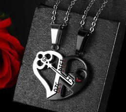 Steel, Jewelry, splitheartnecklace, loversnecklace