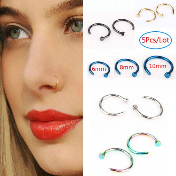 5pcs Lot Stainless Steel Nose Hoop Nose Rings Fake Septum Clicker