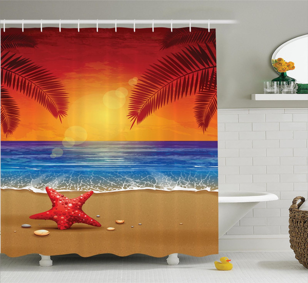 Tropic Beach Starfish Palms Ocean