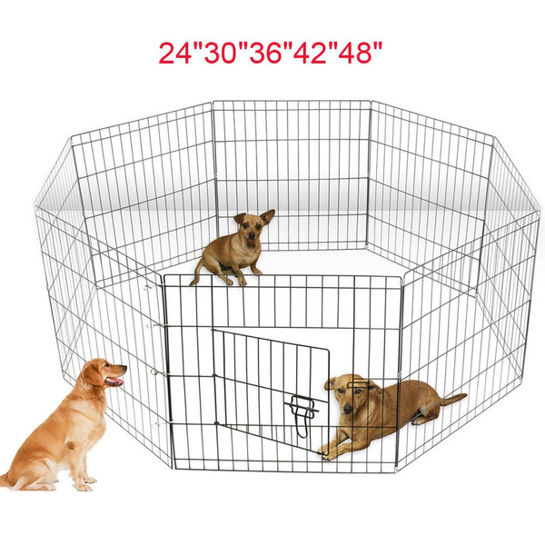 """24/""""—48/"""" Tall Wire Fence Pet Dog Cat Folding Exercise Yard 8 Panel Metal Play-Pen"""