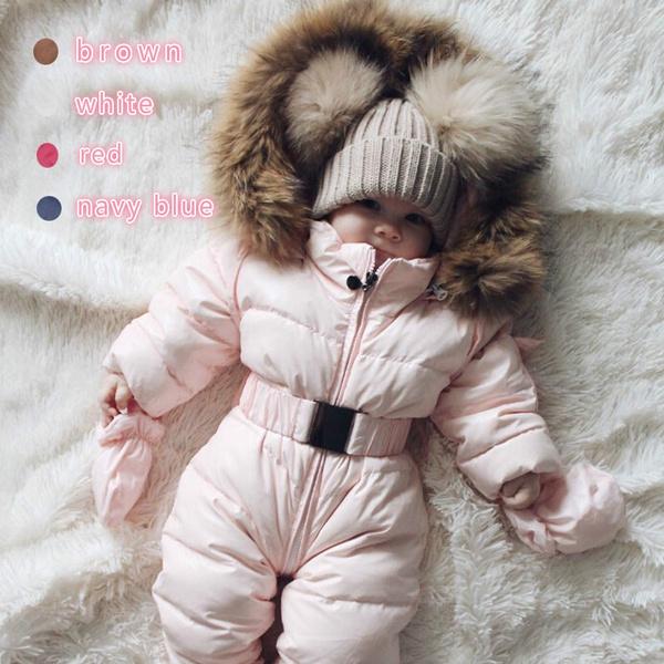 1495f18b3 Children Winter Jumpsuits Fur Hood Down Rompers Warm Baby Kids ...