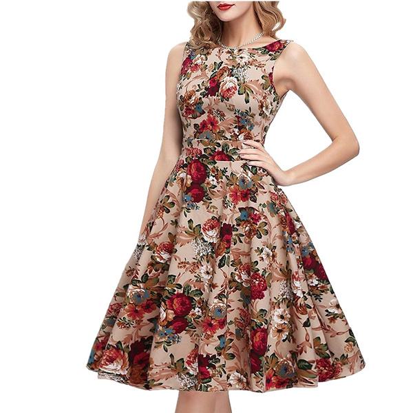 71c9bab8d Nueva Moda De Verano Vestidos De Las Mujeres Elegantes Sin Mangas De  Impresión Casual Vestido De Partido Clásico Del O-cuello De Las Señoras  Vestidos