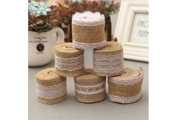 2M Party DIY Wedding Supply Hessian Edge Sisal Trim Lace Ribbon Jute Burlap