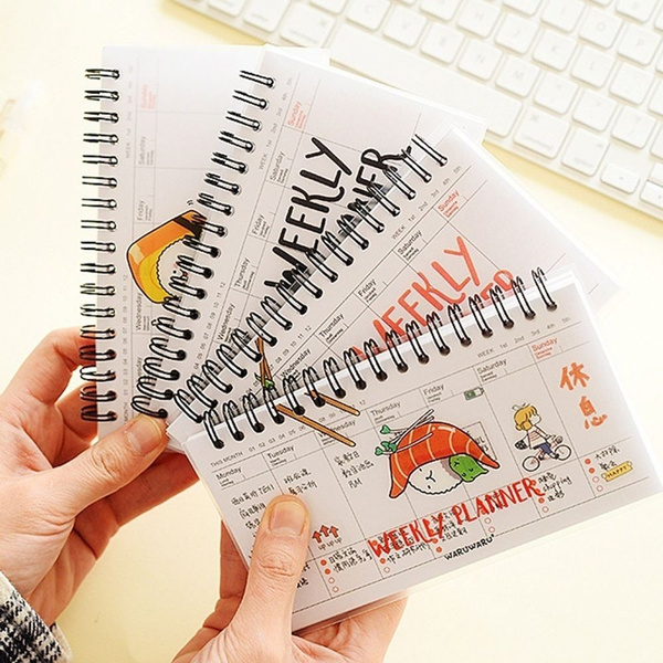 Weekly PVC Day Plan Planner Time Organizer Office School Supplies Diary  Daily Notebook Spiral Notebook