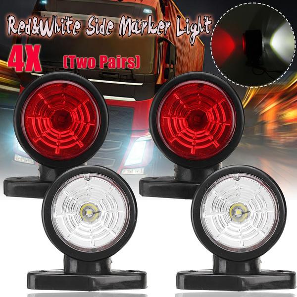 2x Waterproof 2 LED Red/&White Side Marker Light Lamp Trailer Truck Lorry Caravan