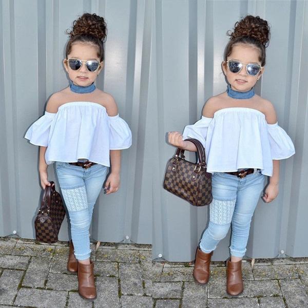 e52f0417da Fashion Toddler Kids Baby Girls Outfits Off Shoulder Top Jeans Denim ...