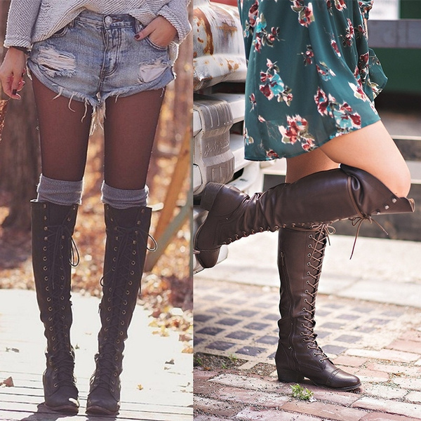 d27e1f03f Girls Fashion Tall Boots Women Leather Low Heel Knee High Boots ...