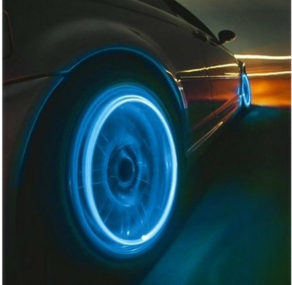 4 Pcs Bike Car Motorcycle Wheel Tire Tyre Valve Cap Spoke Neon LED Flash Lights