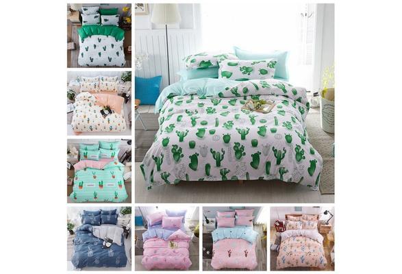 Pink Blue Cactus Print Bedding Set Bedclothes Duvet Cover Bed Sheet Bedspread Comforter Cover Bedding Sets Bed Linen Cotton Housse De Couette Bedsheet (NO Comforters NO Pillow Inner)