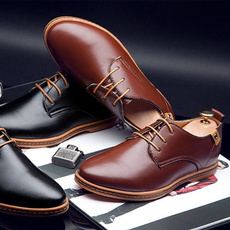 Flats, brown, leather, shoes for men