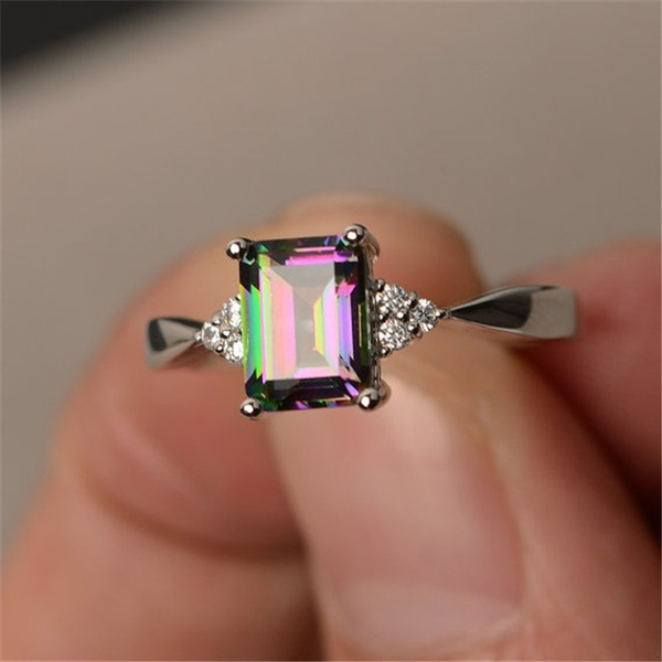 SKCUTE Engagement Multi Color Rainbow Topaz 925 Silver Ring Jewelry