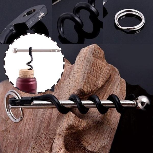 EDC Stainless Steel Corkscrew Pocket Red Wine Bottle Opener Outdoor Keyring