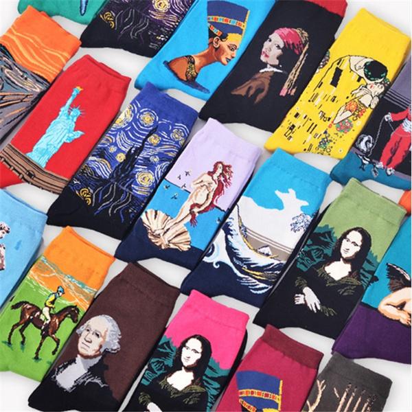 économiser chaussures d'automne Prix de gros 2019 Mode Art Coton Crew Imprimé Chaussettes Peinture Caractère Motif Femmes  Hommes Harajuku Conception Chaussettes Calcetines Van Gogh Nouveauté Drôle