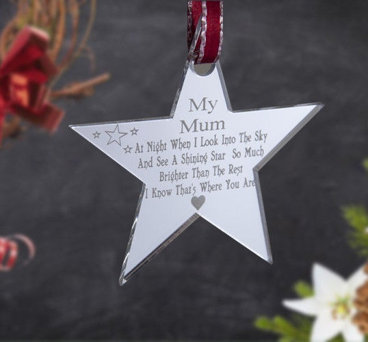 wish personalised christmas decoration tree ornament mun dad home childrens room pentagram pendant memorial gift engraved