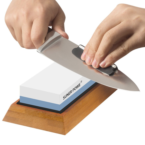 Professional Knife Sharpener Stone-Dual 1000/6000 Japanese Grit  Whetstone-Knife Sharpening Stone Kit Included Non-slip Bamboo Base & Angle