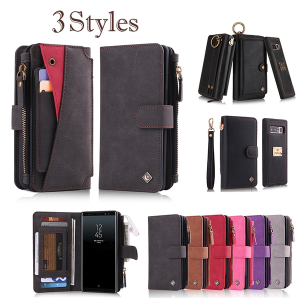 brand new cf72c d2f1d Samsung Note 8 Case,Galaxy Note 8 Wallet Case,Pola Brand Premium PU Leather  Multi-function Wrist Band Mirror Purse [Magnetic Detachable] Case Cover ...