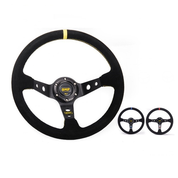 Universal Fits Car Racing Sport 350mm Deep Dish Steering Wheel with Horn Button