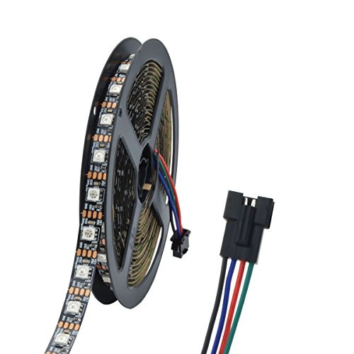Wixure 16 5Ft 12V VS2812 Pixel Flexible LED Strip Compatible WS2812B 60  LEDs/m Black PCB 5050 RGB Light Non-waterproof Control By Neopixel Arduino