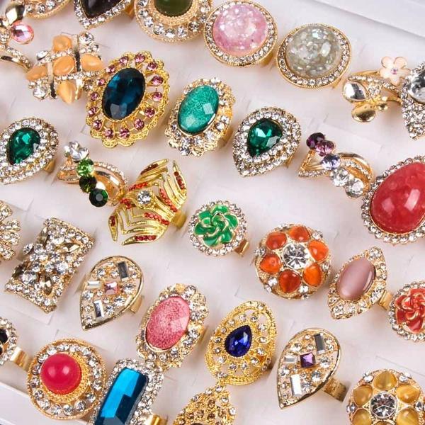 30pcs Crystal Zircon Rings Gold-plated Fashion Wholesale Women Jewelry Mixed Lot