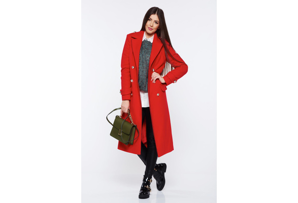 High Quality 2017 Women Sexy Elegant Fashion Slim Fit MD-long Double Breasted Wool Coat