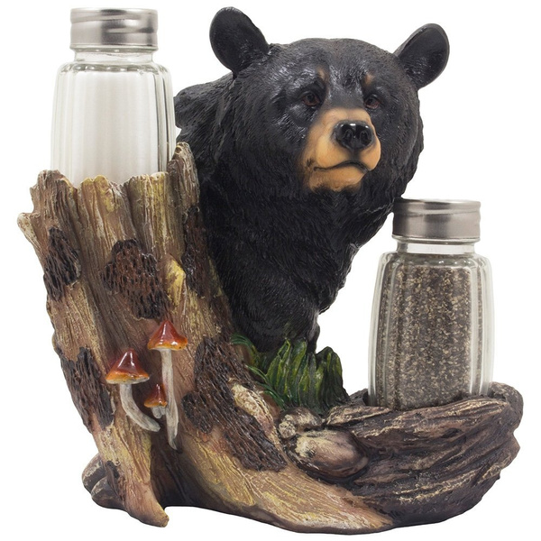 Black Bear Glass Salt and Pepper Shaker Set Sculpture Kitchen Decor in  Rustic Lodge and Cabin Figurines