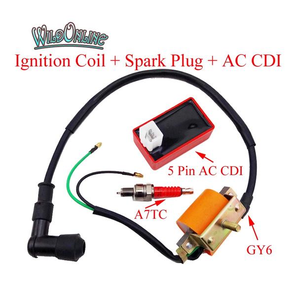 Ignition Coil AC CDI Spark Plug For 50cc 70cc 90cc 110cc ATV Quad Pit Dirt Bike