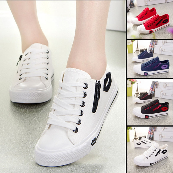 bdc15f8db384a Cute Fashion Sneakers Sexy Lips Women Canvas Casual Shoes White Sports  Trainers Black Running Shoes Chaussure Femme | Wish